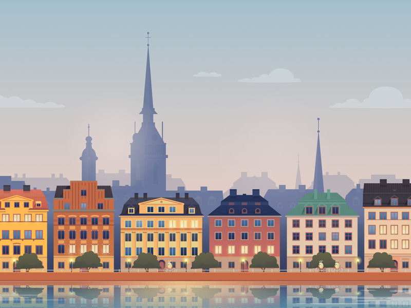 Stockholm vector illustration for Hopper illustrator drawing hopper illustration vector city stockholm