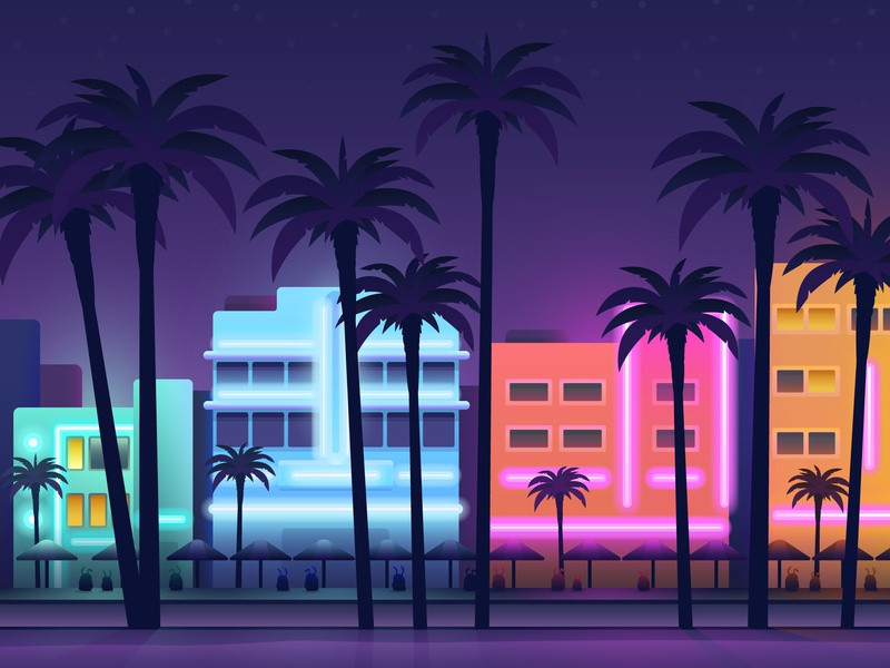 South Beach, Miami for Hopper night life night beach palm tree travel vacation drawing miami hopper illustration illustrator vector