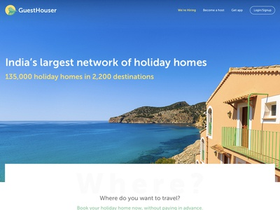 Guesthouser Homepage homestay page website design homepage design interaction design ux ui