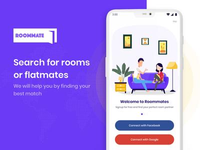Roommate App rent room partner roommate user experience app screen design interaction design ux ui