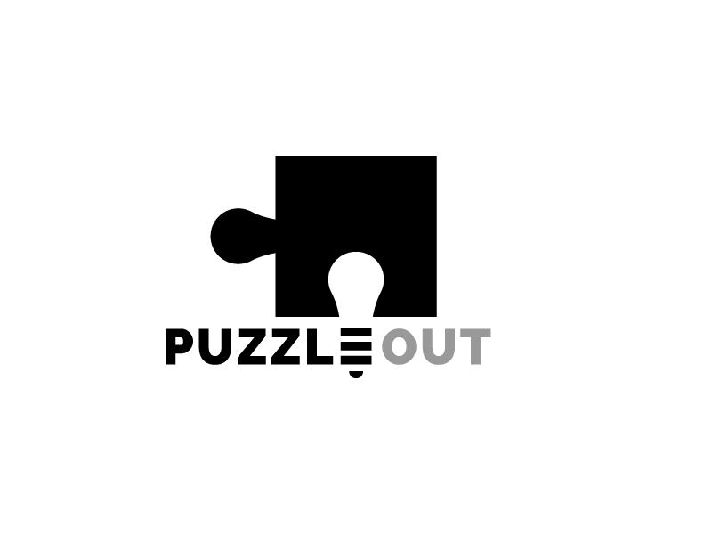 Puzzle Out - Unused Logo Concept bulb light space negative logo jigsaw room escape out puzzle