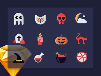 Hello dribbble! Halloween Free Icon Set
