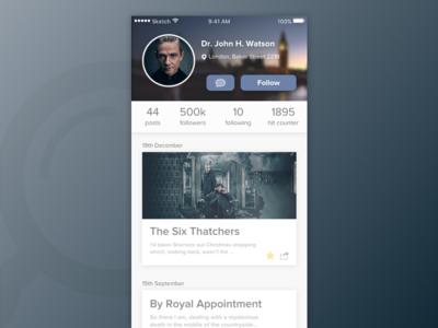Day 06 — User Profile sherlock blog app daily ui challenge free sketch