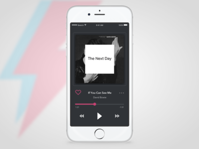Day 09 — Music Player player david bowie ios app daily ui challenge free sketch