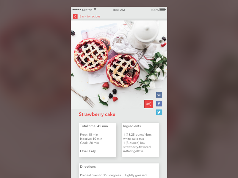Day 10 — Social Share cook share app daily ui challenge free sketch