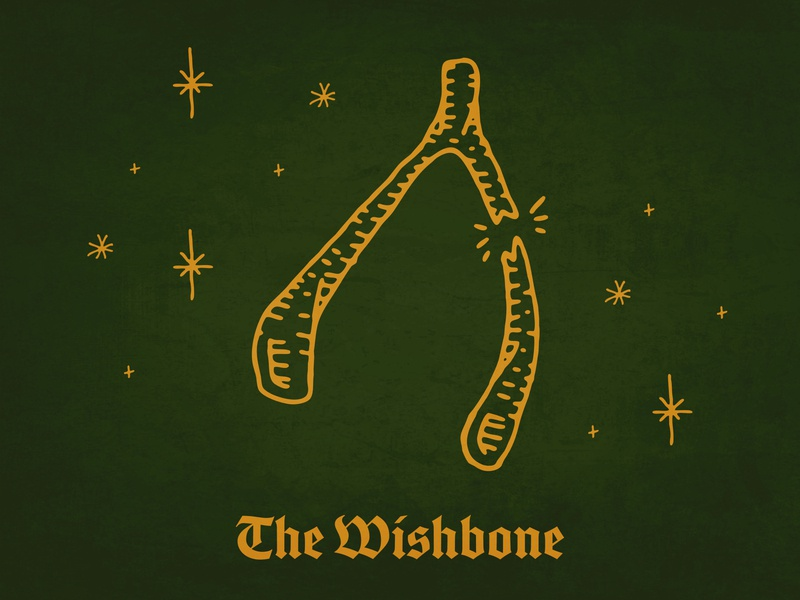 The Wishbone tattoo creative agency handdrawn digital illustration bones icon iconography illustrator promotional design fridaythe13th lucky luck blackletter wishbone design procreate ipad pro illustration typography