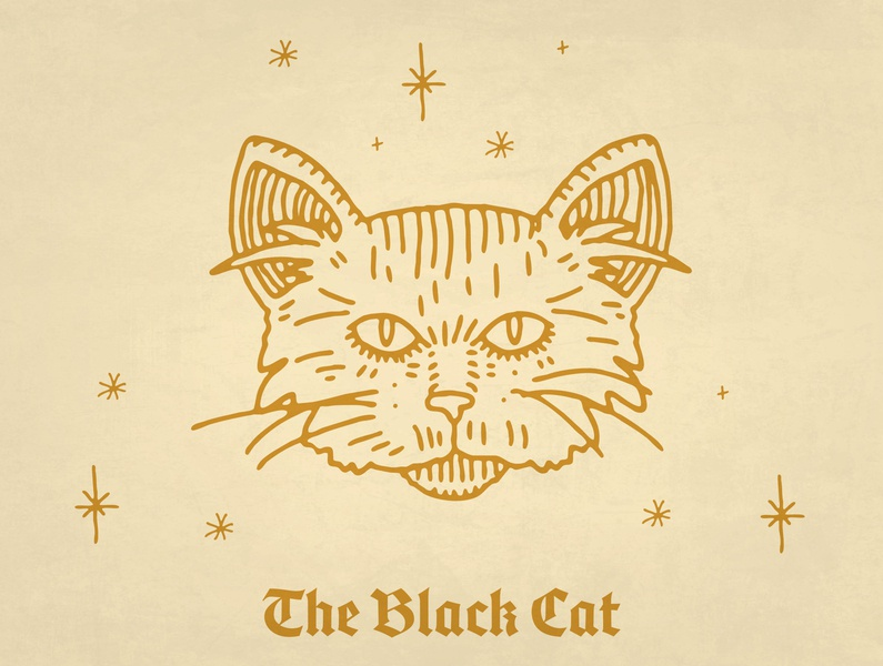 The Black Cat tattoo icon iconography blackletter unlucky bad luck promotional design cat illustration friday 13th cat black cat luck illustrator branding design procreate ipad pro illustration typography