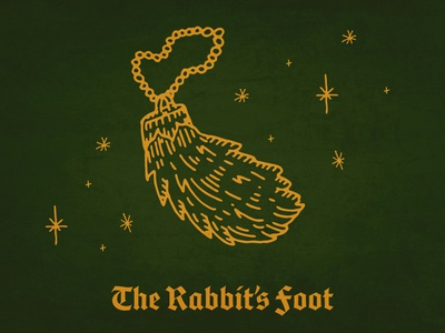 The Rabbit's Foot friday the 13th bunny iconography icon promotional design blackletter st.patrick good luck lucky luck foot rabbit illustrator branding design procreate ipad pro illustration typography