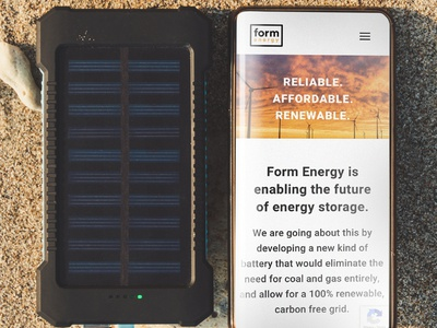 Form Energy electricity interface website concept startup environmental wind turbine solar energy typography sustainability eco climate designer green energy renewable energy home page design landing page website design web branding ui design