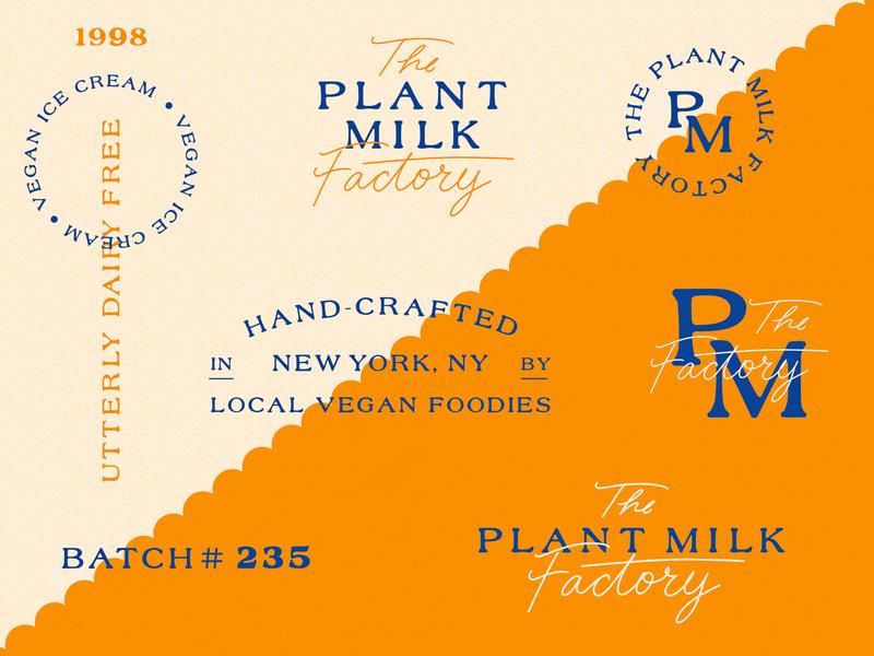 PMF Logo Sheet script package design vegan brand retro vintage type logo sheet new york plant milk creamery icecream vegan brand identity logo branding design lettering hand lettering illustration typography