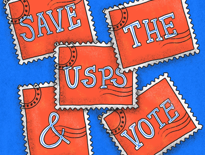 SAVE THE USPS and VOTE postage stamp fuck trump president red white and blue democrat election vote usa america stamps usps hand rendered type illustrator illustrated type design ipad pro lettering illustration hand lettering typography