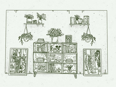 the living room room livingroom ipad pro stay safe workspace linework hanging plants design procreate urban jungle books home at home stayhome covid bookshelf living room plants house plants illustration