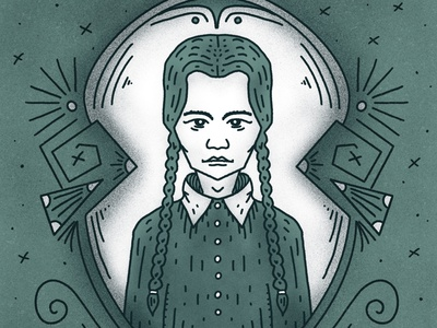 Wednesday Addams omnious muted colors scary movie horror scary fall creepy halloween movie grim portrait inktober2020 inktober october spooky halloween the addams family wednesday addams wednesday procreate illustration