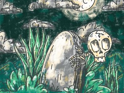 Graveyard Skeleton october inktober2020 inktober death gravestone grave horror skeleton cemetery midnight spooky halloween graveyard full moon moon rip skull cemetary haunting illustration
