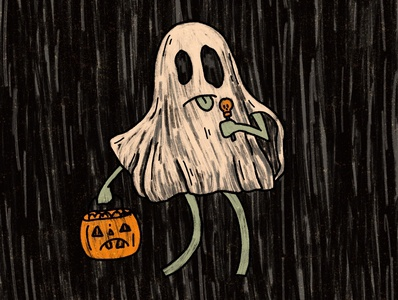 Ghost Dude doom and gloom doom scary movie candy halloween costume white sheet death october spooktober ghostbusters grim scary horror ghoul inktober2020 inktober spooky trickortreat ghost illustration