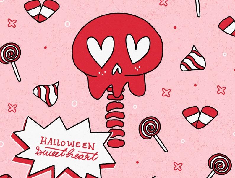 Halloween Sweetheart love valentine kiss pink bubblegum skeleton skull lollipop spooky spooktober inktober2020 inktober candy corn sucker halloween sweetheart trickortreat candy illustration typography