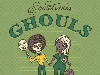 ghouls like ghouls too monsters halftones vintage vampire skeleton skull spooktober spooky october halloween ghouls gaypride lgbtq gay lesbian illustrated type lettering hand lettering illustration typography