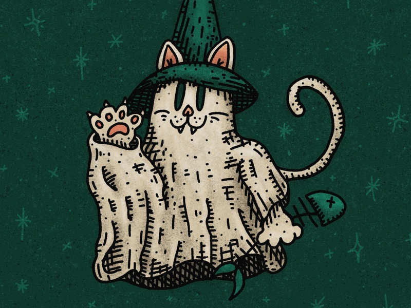 Ghost Kitty dead fish meow halloween costume october spooky season haunted witchy inktober2020 illustrations witch hat white sheet ghoul witch ghost cat spooktober spooky inktober halloween illustration
