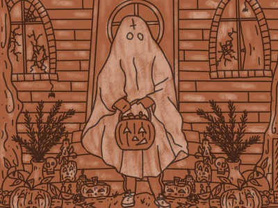Trick Or Treat satanic illustration trickortreat halloween spooky spooktober inktober inktober2020 ghost ghostbusters horror tour of terror candy jack o lantern pumpkin october white sheet shrine evil haunted house