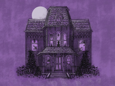 Bates Motel midnight murder procreate illustration horror norman tour of terror serial killer nightmare dribbbleweeklywarmup spooktober inktober purple full moon halloween spooky haunted mansion haunted house psycho bates motel illustration