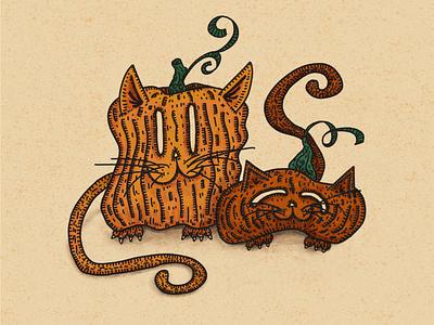 Pumpkitties ipadproart hocus pocus procreate autumn fall vibes kitties cat mom cat illustration burnt orange inktober2020 pumpkin patch cute animal halloween october pumkin cat spooktober inktober cat pumpkin illustration