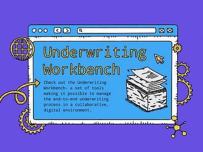 Underwriting Infographic business finance data virtual workflow handdrawn tech lowcode mendix writing underwriting infographic design procreate illustration