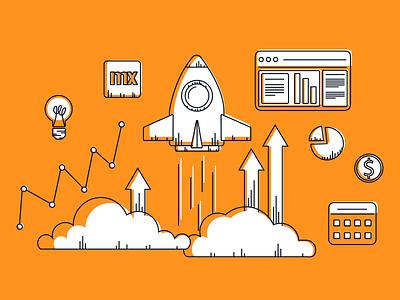 March 17 Demo Ads rocket automation advertisment development promotions business digital digital ads adobe illustrator ads technology tech mendix lowcode takeoff graphs lightbulb rocketship illustration