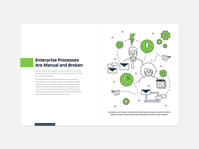 Enterprise Processes are Manual & Broken spot illustration vector illustration adobe illustrator layout ebook ai conflict gears enterprise systems communication technology tech intelligent automation low-code mendix vector design typography illustration
