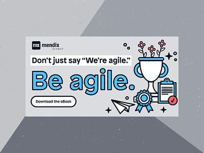 Agile eBook Ad refresh business go make it digital ads developers technology tech accelerate agile low-code workflows spot illustrations communication adobe illustrator vector advertisment ads ebook mendix design illustration