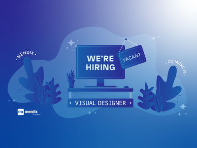 Mendix is Hiring! gradient vacant desktop plants blue technology tech mendix low-code go make it empty desk desk web designer job opening designer visual designer job board hiring vector illustration