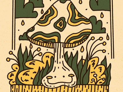 he's a fun•guy happy character dope retro hand drawn trippy clouds rain forrest nature green yellow kawaii cute fungi shroom mushroom procreate ipad pro illustration