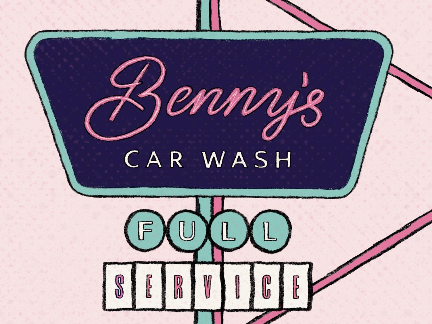 Benny's Car Wash vintage badge retro design retro car wash vintage logo vintage illustrator logo branding design digital lettering illustrated type procreate ipad pro lettering illustration hand rendered type typography hand lettering