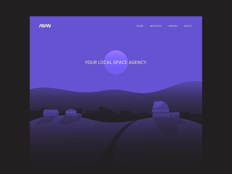 Autonomous Space Agency Network Landing Page illustration asana space