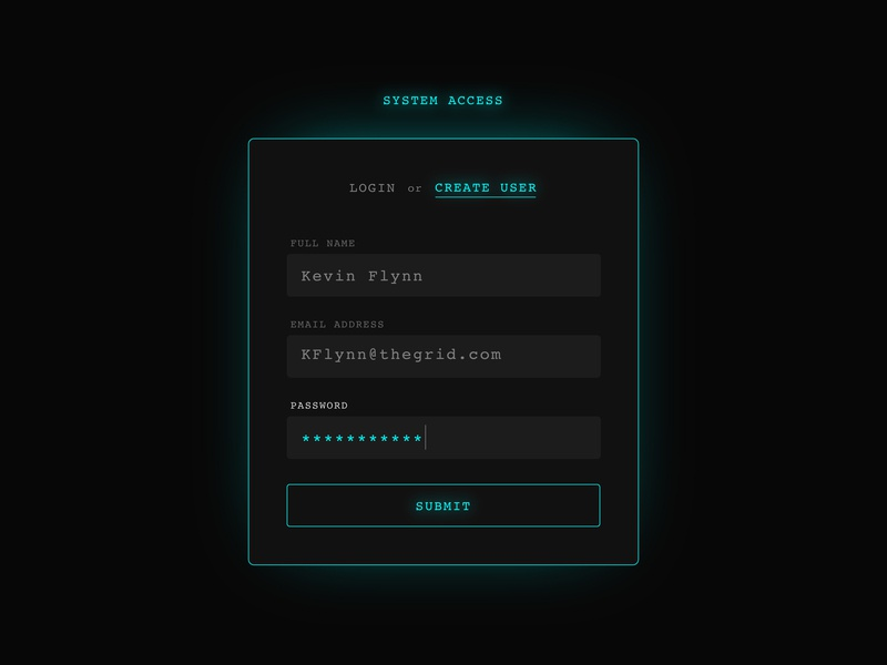 Grid Sign Up signup glow retro ui tron