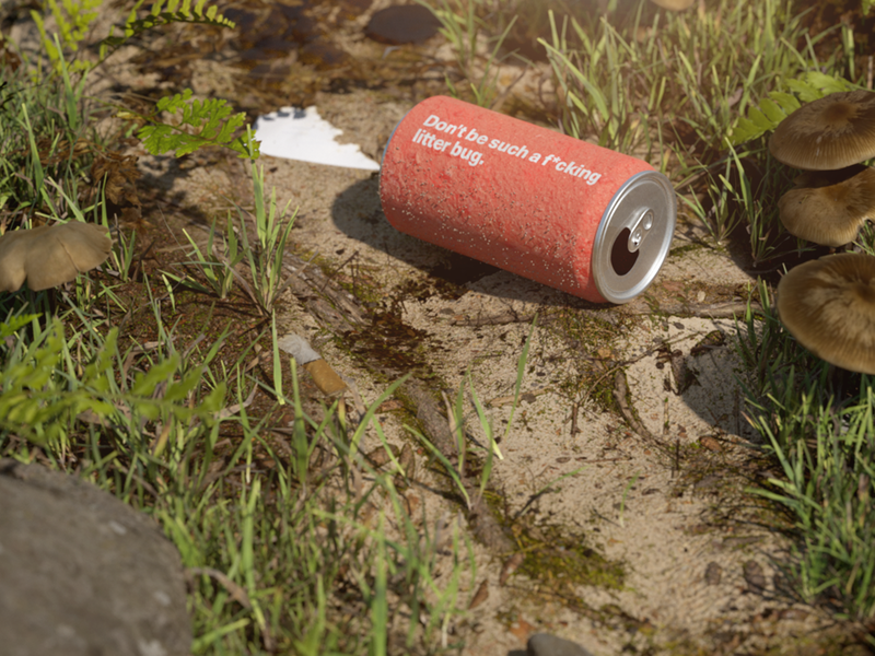 Don't be such a litter bug outdoors illustration octane cinema 4d