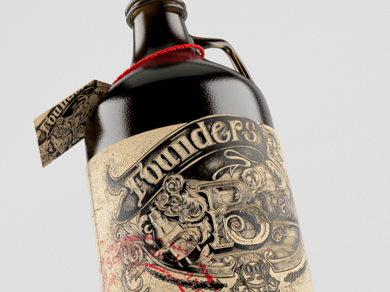 Founders Brewery Growler Design product design graphicdesign design illustration