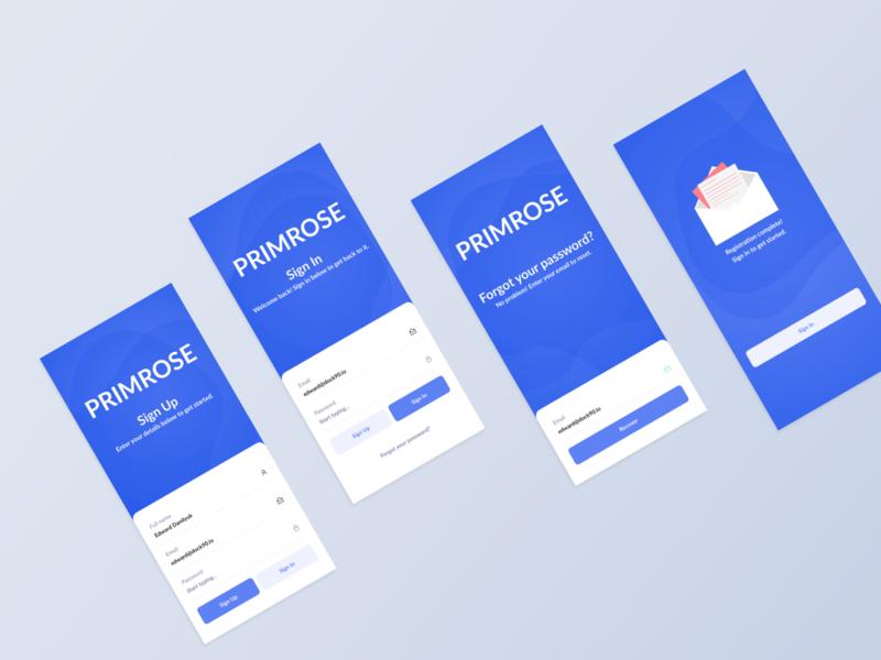 Primrose - Authentication Screens primrose prm app ui design