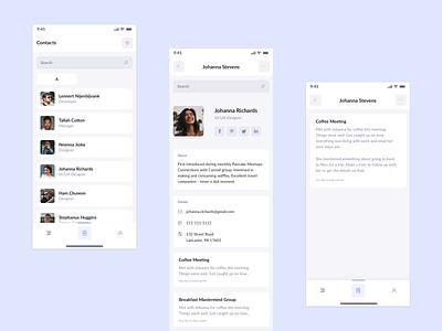 Primrose - Contacts Screens contact ui prm primrose app design app