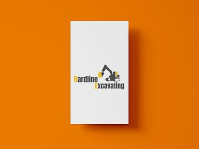 Hardline Excavating Logo illustration typography logo branding design