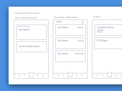 Thyme Mobile Wireframe saas construction time tracking mobile app ui design