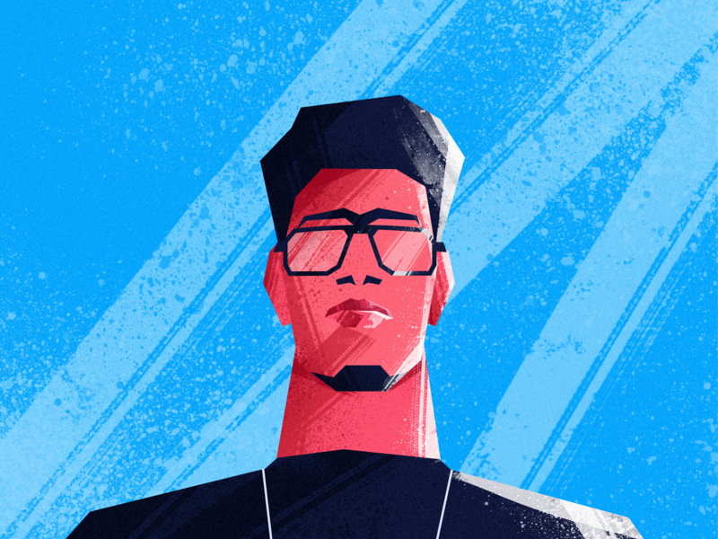 Self-Potrait texture rough blue red self portrait potrait boy illustrator design vector photoshop character minimal art painting minimal illustration