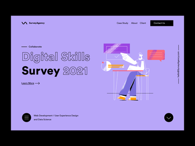 Digital Survey search logo home page website web landing options digital survey inspiration branding ui flat ux illustrator design vector character minimal illustration