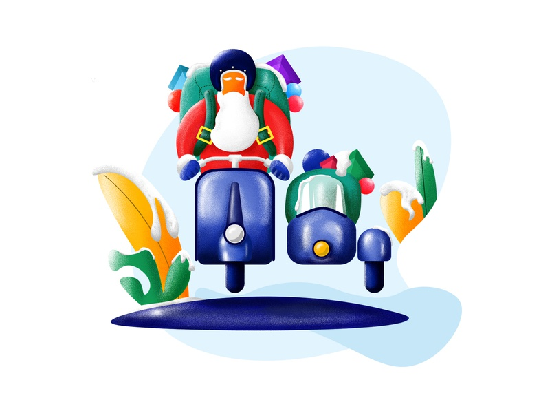 Rider Santa happy helmet plant bag gift scooter minimal christmas santa santa claus explore rider illustrator photoshop illustration