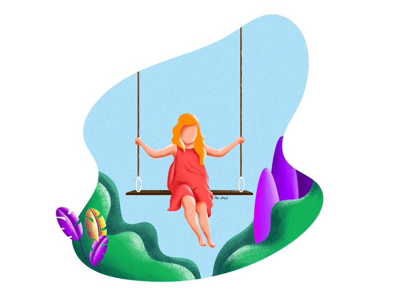 Flying minimal art happy nature swing girl illustration girl character character charactedesign minimal painting explore illustration