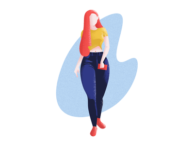 Gorgeous Redhead women redhead charecter sexy girl hot walking lady illustrator painting photoshop minimal flat vector design illustration