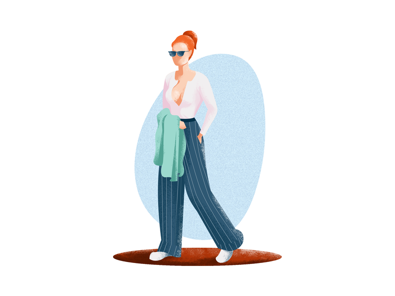 Step out and conquer fashion colour outing explore lady girl character painting minimal art minimal vector design illustration