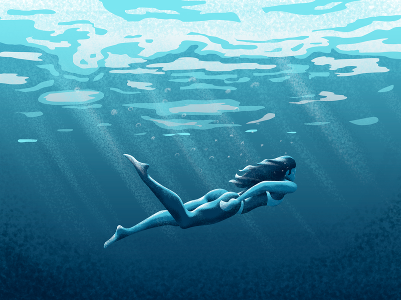 Swim your worries away flat underwater blue swimming swim pool sea water nature girl illustration girl design character explore vector minimal art minimal photoshop painting illustration