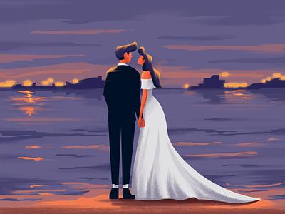 Together together boy love wedding couples girl illustrator minimal design character painting illustration