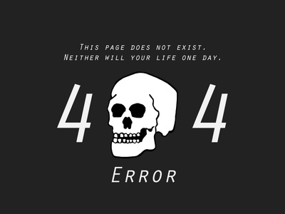 404 Error of death illustration nihilism death skull 404