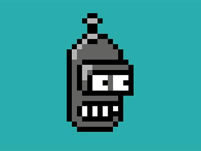 Bender Robot pixel art 8bit futurama robot illustration css svg